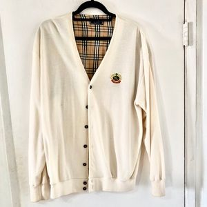 Vintage Burberry Mr Rogers Cardigan Sweater Large